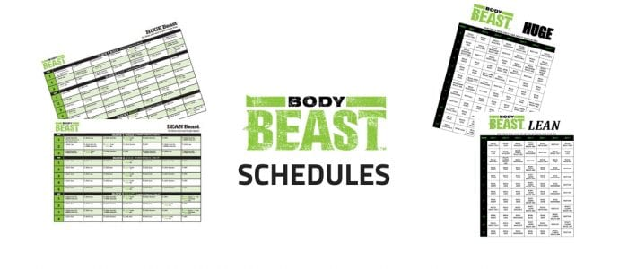 BODY BEAST SCHEDULES