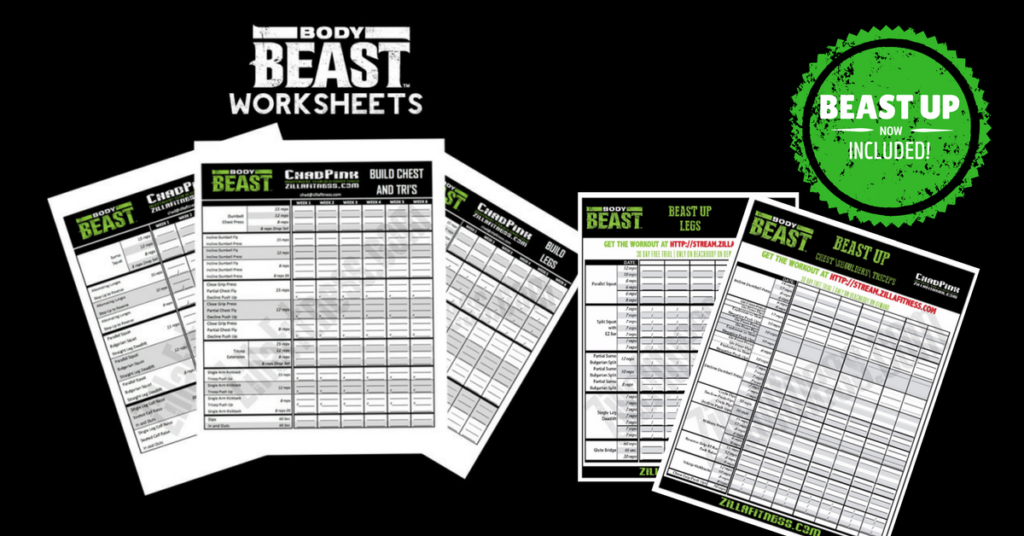 Body Beast Workout Sheets Zillafitness