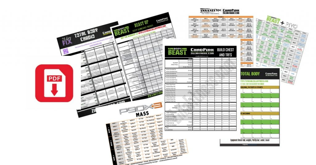 Schedules Worksheets And Guides Zillafitness